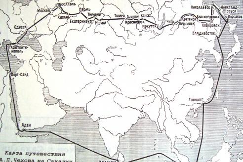Карта путешествия Антона Чехова. 1890 г.