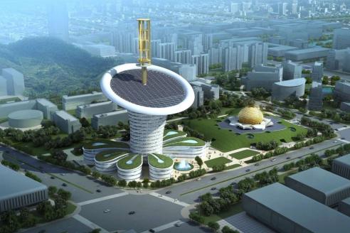 Проект нового здания исследовательского центра новых энергетических технологий университета Уханя. Башня по мотивам цветка каллы – Wuhan Energy Flower – будет на полном самоэнергообеспечении и самым энергоэффективным зданием в мире. Китай