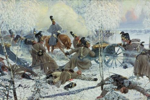 «Гвардейская конная артиллерия обстреливает французские колонны во время отступления наполеоновской армии». П.П. Карягин. 1912 г.