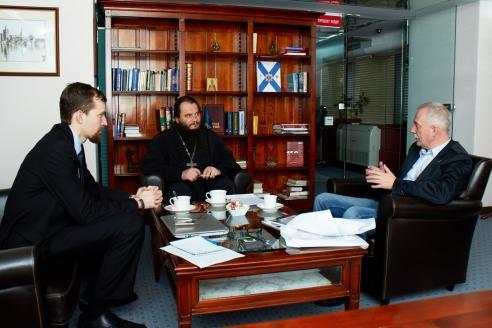 Е.О. Иванов, протоиерей Игорь Фомин, Н.А. Кузнецов в редакции МР, 31 января 2018 года