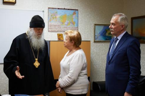 Архиепископ Михаил, Л.В.Щербина, Н.А. Кузнецов, 6 декабря 2017 года