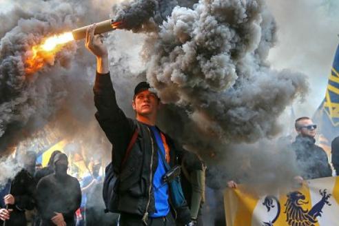 Марш украинских националистов в центре Киева