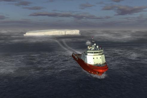 Буксировка крупных айсбергов в ходе экспедиции «Кара‑лето‑2016»