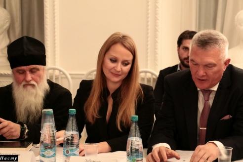Игумен Петр, М.В.Забелина, М.И.Якушев, 8 ноября 2017 года