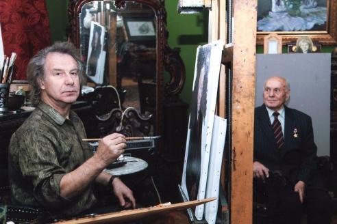В мастерской Народного художника СССР А.М. Шилова