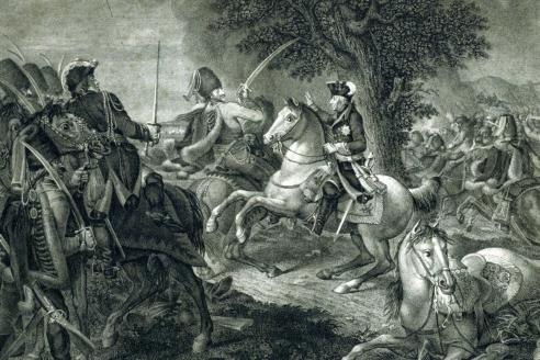 """""""Фридрих Великий перед битвой при Кунерсдорфе 12 августа 1759 года. Слева генерал фон Зейдлиц пытается обосновать необходимость остановить битву"""". А.Менцель"""
