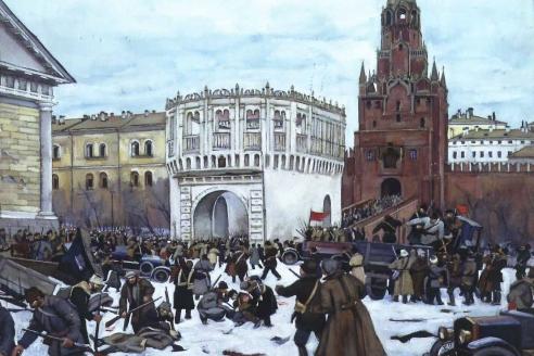 «Вступление в Кремль революционных отрядов. Москва, 3 (16) ноября 1917 года. Троицкие ворота». К.Ф. Юон