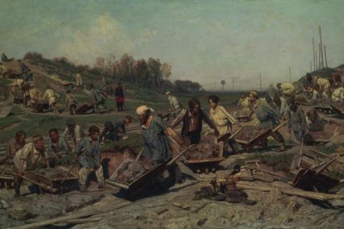 """""""Ремонтные работы на железной дороге"""". К.А. Савицкий. 1874 г."""