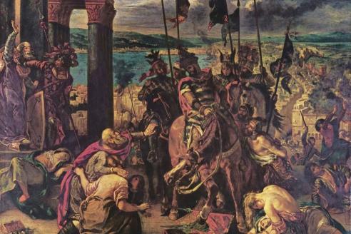 """Взятие Константинополя крестоносцами"". Эжен Делакруа. 1840 г"