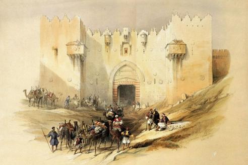 """""""Дамасские ворота Иерусалима"""". Дэвид Робертс. 1839 г."""