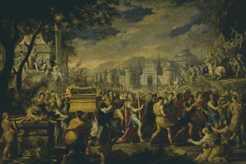 """""""Перенесение Ковчега Завета царём Давидом в Иерусалим"""". Д.Гарджуло. XVI в."""