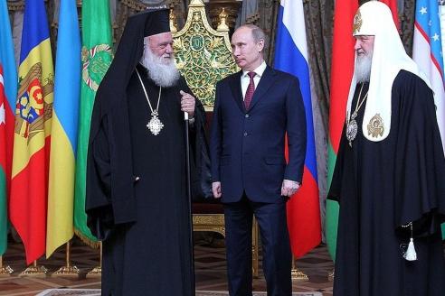 Встреча патриарха Кирилла и архиепископа Иеронима II с президентом РФ В. Путиным. 24 мая 2012 г.