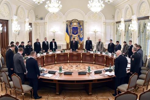 Совет национальной безопасности и обороны Украины поручил правительству страны начать процедуру обращения в Гаагский трибунал для расследования преступлений против человечности, которые были совершены на территории страны в 2014-2015 годах. Киев. 2015 г.