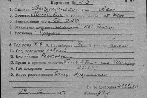 Личная карточка Агаса Арзуманяна