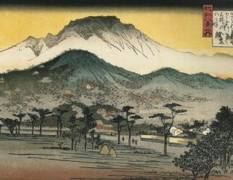 «Вечерний звон у Мии-дэра». Утагава Хиросигэ. Японская гравюра в стиле укиё-э. Мии-дэра – храмовый комплекс в Оцу