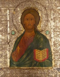Икона «Господь Вседержитель»,  в окладе. 1550—1560-е гг.