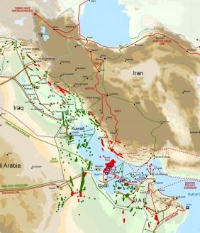 Карта газовых и нефтяных месторождений на территории Персидского залива