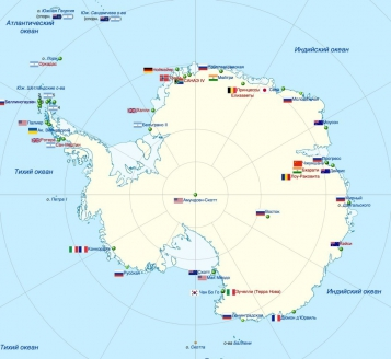 Схема расположения станций в Антарктике