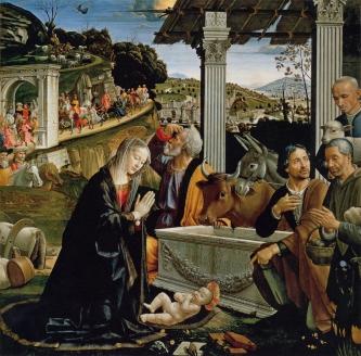 «Поклонение  пастухов»  Д. Гирландайо.  Капелла Сассети церкви Санта Тринита, Флоренция 1485 г.