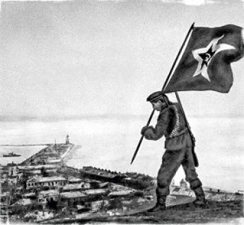 Водружение знамени в день освобождения Керчи