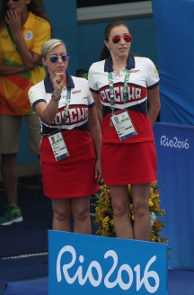 На Олимпиаде в Рио с дочерью и тренером по синхронному плаванию Еленой Терновской. Август 2016 г.