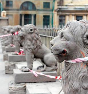 Знаменитые 29 львов усадьбы Кушелевых-Безбородко отправляются на реставрацию