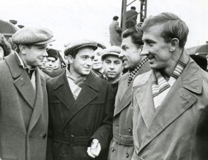 Олимпийские чемпионы 1956 года: Эдуард Стрельцов, Никита Симонян, Анатолий Башашкин, Игорь Нетто
