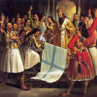 «Герман благословляет знамя восставших в монастыре Агиа Лавра». Т. Вризакис