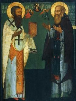 Свт. Василий Великий и вел. кн. Василий III. Надгробная икона. 1530-1540 гг.