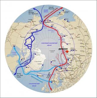 Карта Северного морского пути и маршрута через Суэцский канал