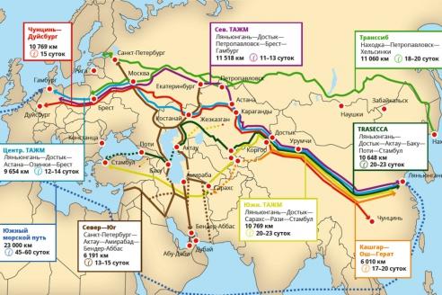 Карта транспортных корридоров Шёлкового пути
